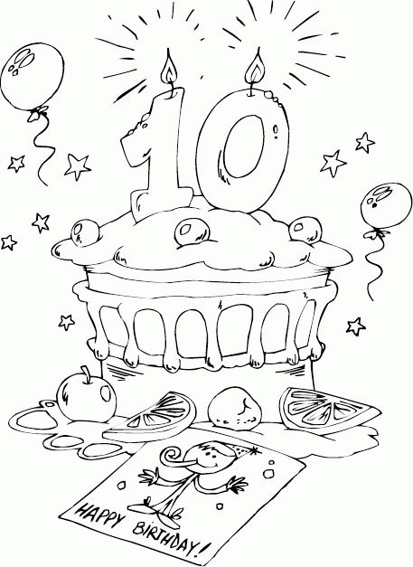 birthday cake age 10 coloring page - coloring.com