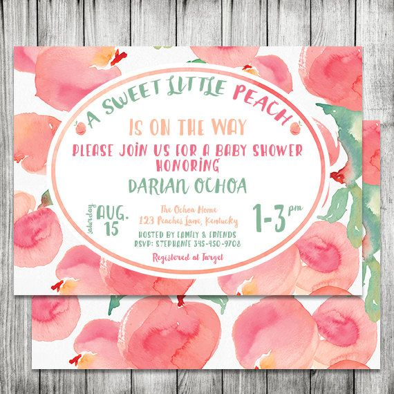 A Sweet Little Peach Baby Shower invite  by CherryBerryDesign