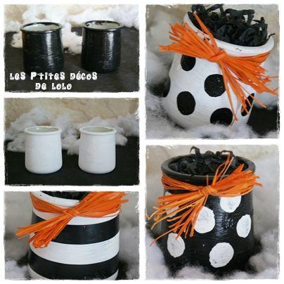 pots noir-blanc-orange