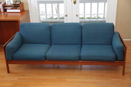 Danish Teak Mid Century Modern Low Sung Couch by ModDiscoveries