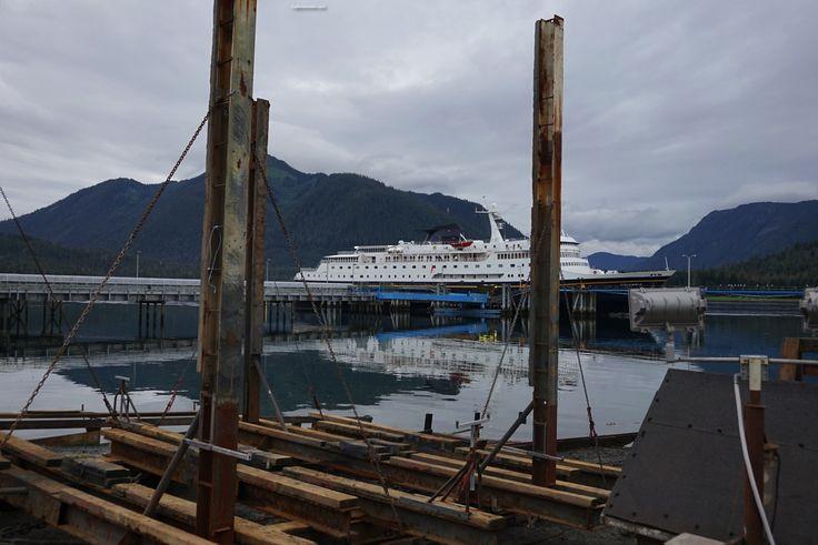 Alaska Marine Highway Ferry docked in shallow harbor of Petersburg Alaska…