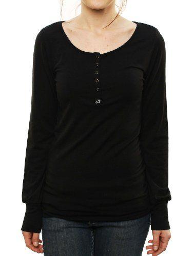 Alpinestars Women`s Astars 4W Midnight Long Sleeve Henley T-Shirt Black