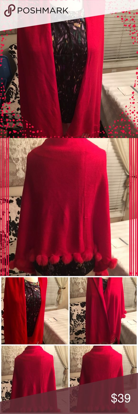 """RED Wrap around Shawl Soft- softer and softest is the feel of this wrap around. It is made in the shape of a rectangle with length of 65"""" and width of 23"""". One side has fringe and the other end has soft red balls!  Such a classy look!  This was given to me when we purchased a full length mink coat. It is of great quality Jackets & Coats"""