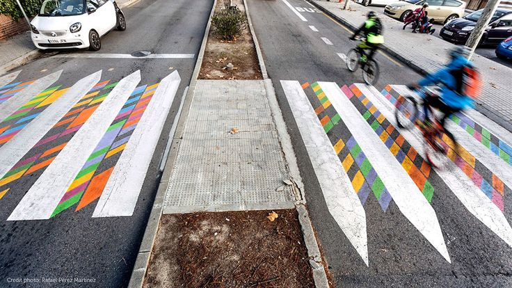 Street artist Christo Guelov has transformed dozens of crossings in Madrid and plans to continue the series, Funnycross, across Spain and Europe.