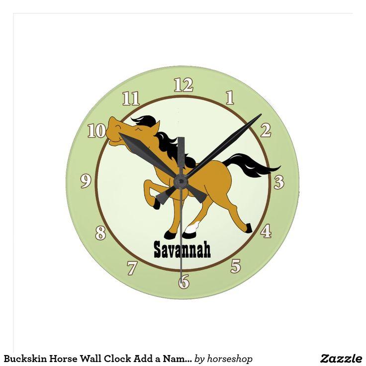 Buckskin Horse Wall Clock Add a Name (Green)