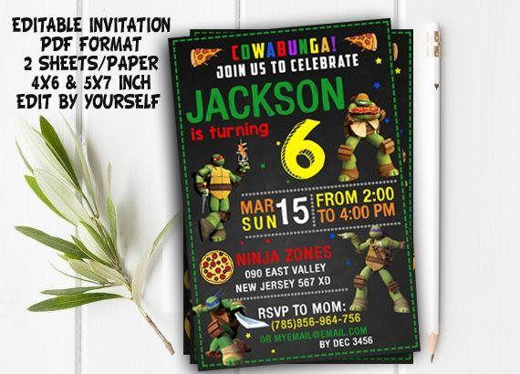 Ninja Turtles Invitation Ninja Turtles Party TMNT