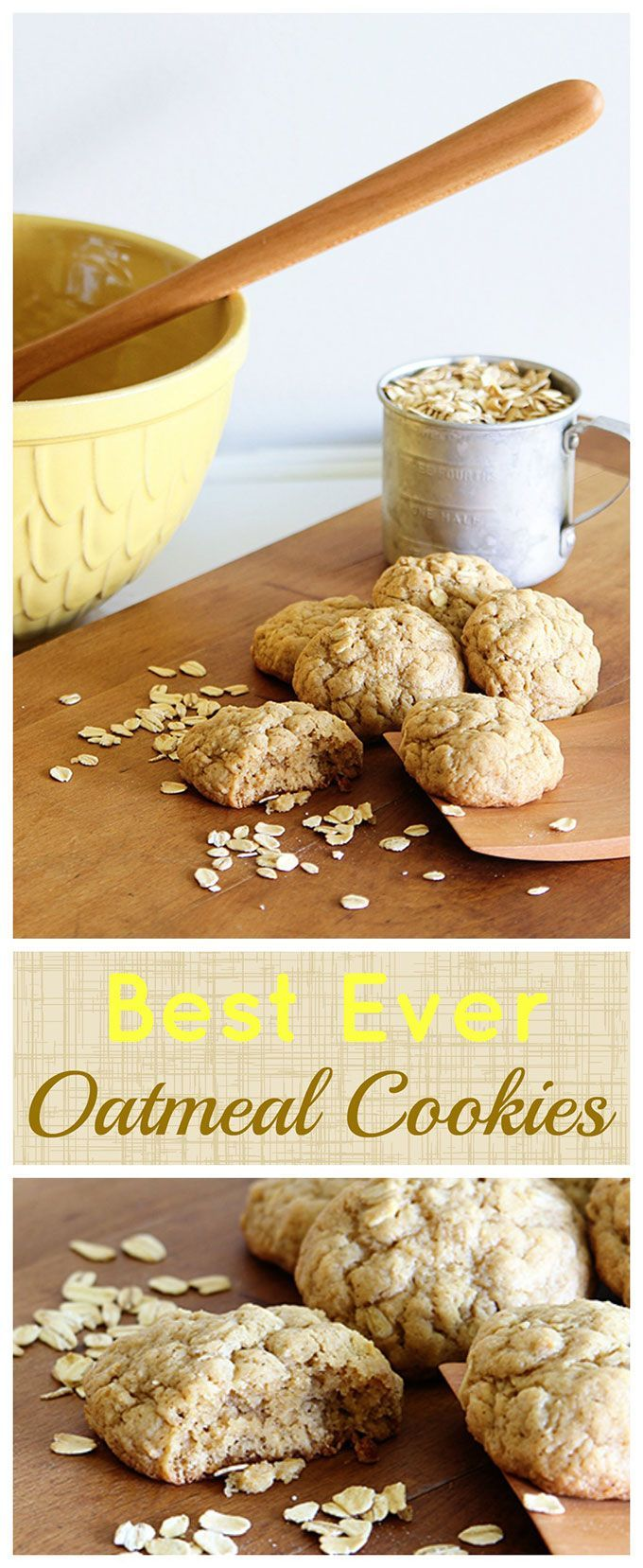 This is the best recipe for soft and chewy oatmeal cookies! Super easy to make and no electric mixers involved, so kids can help make them too.