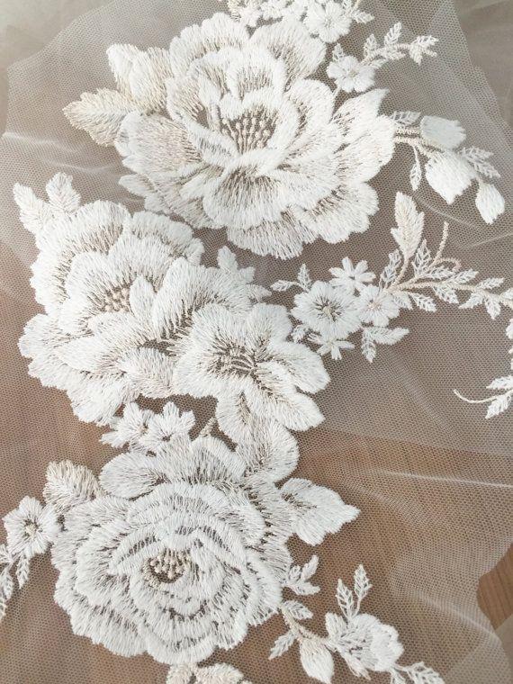 Applique lace cotton floral embroidery lace applique by Retrolace