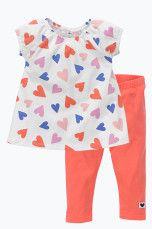 Ellos Kids Sæt med tunika og leggings Hvidmønstret + koralrød, Hvid/sort + sort - Pige - Tunikaer | Ellos Mobile