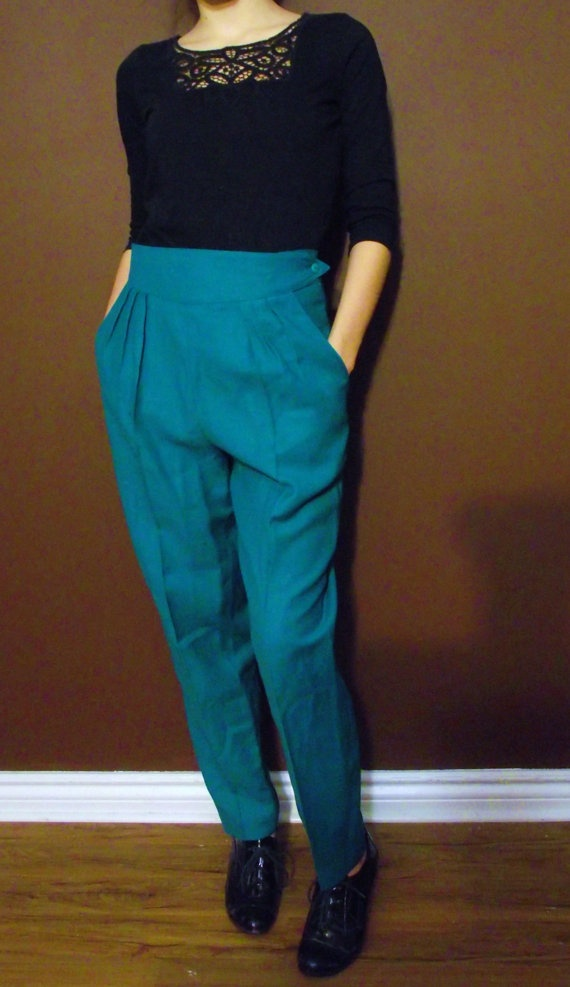Vintage Pleated Pants  Turquoise by MaryLuVintage on Etsy, $18.00