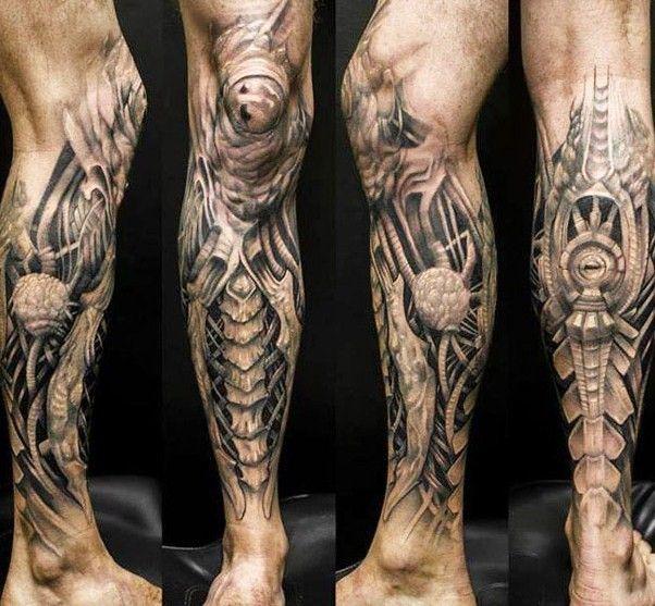 artistic biomechanical tattoo by Klaim - Design of Tattoos