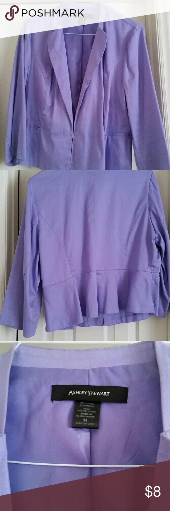 Ashley Stewart lavender blazer Lavender blazer with hook closure. Peplum back. Ashley Stewart Jackets & Coats Blazers