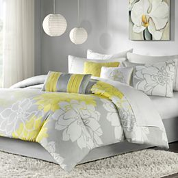 Brighten Up Your Bedroom With This Cheerful Madison Park Brianna  Seven Piece Comforter Set. This Charming Floral Comforter Set Pairs Hues Of  Gray, White And ...