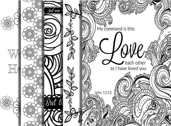 5 Pack Bible Verse Coloring Page Adult Relaxation DIY