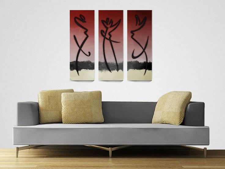 Soyut Figürler - 3 Parça Kanvas Tablo - Sanat Dükkanı