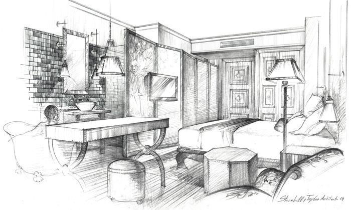 Interior sketch, The NoMad Hotel, New York, Pencil