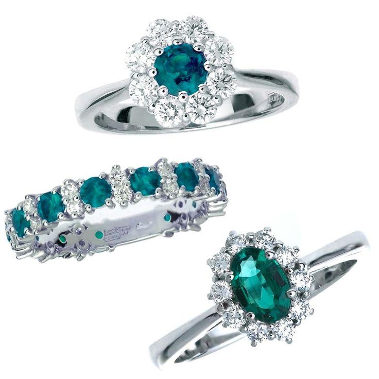 Anelli in oro bianco con smeraldi e diamanti. Rings in white gold with emeralds and diamonds