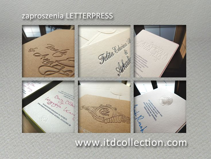 Ekskluzywne zaproszenia na ślub wykonane w technice Letterpress. http://itdcollection.com/Zaproszenia-letterpress