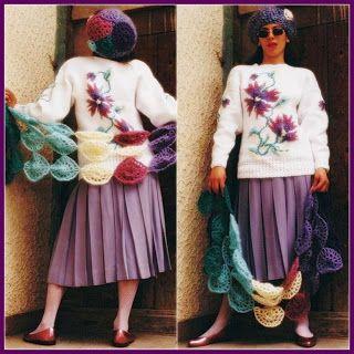 uncinetto moda e fantasia: maglione in cotone bianco con inserti di mohair ti...