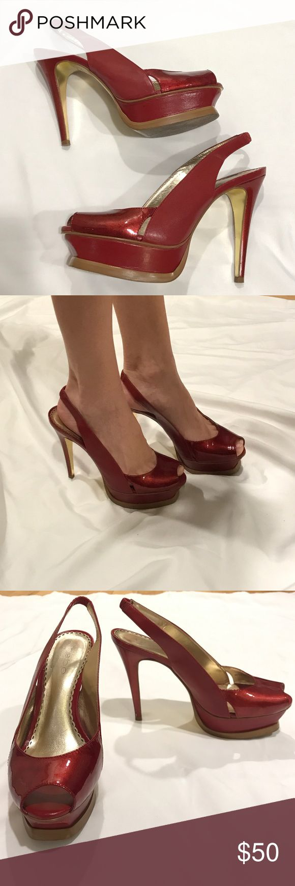Bebe Zahara red platform sling back heels size 6 Bebe classic Zahara heels . The sling has an elastic to and easy to slip on. Very comfortable . Patent peep toe and leather all around. Size 6. bebe Shoes Heels