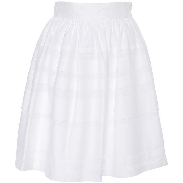 Paule Ka     White Cotton Poplin Skirt with Pockets ($520) ❤ liked on Polyvore featuring skirts, white, pocket skirt, high-waist skirt, white high waisted skirt, high rise skirts and horizontal striped skirt