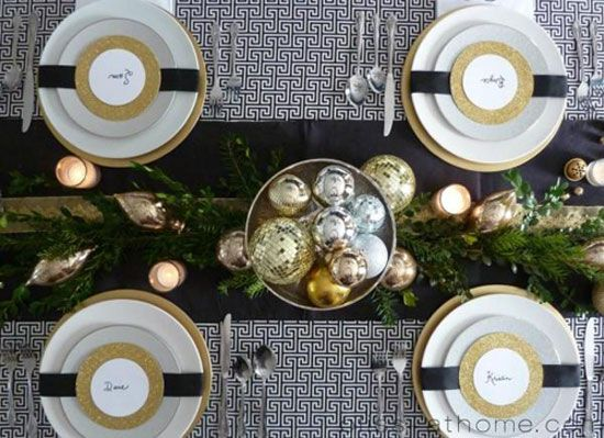 Gold And White Christmas Table Decorations 27 best christmas table for ornament exchange images on pinterest