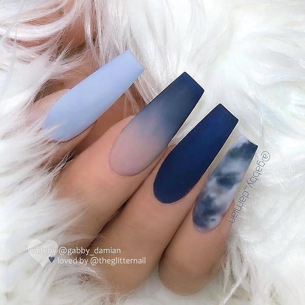 Theglitternail Get Inspired On Instagram Matte Blue Shades Ombre And Marble Effect On Long Cof Cute Acrylic Nails Best Acrylic Nails Coffin Nails Long