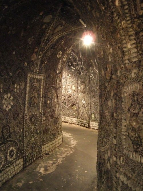 Shell Grotto at Margate-In 1835 Mr James Newlove lowered his son Joshua into a hole in the ground that had appeared during the digging of a duck pond. Joshua emerged describing tunnels covered with shells. He had discovered 70ft of winding underground passages leading to an oblong chamber, its walls decorated with strange symbols mosaiced in millions of shells. Nobody can explain who built this amazing place, or why.