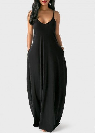 Open Back Pocket Decorated Black Maxi Dress | Rosewe.com - USD $26.26