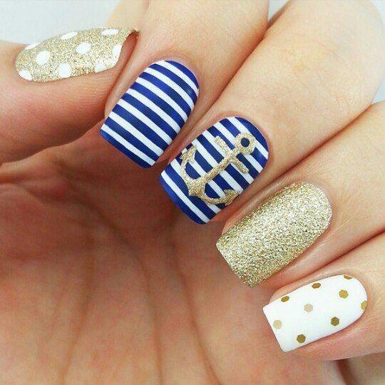Anchor nails, August nails, Gel polish sea nails, Marine nails, Nails nautical…