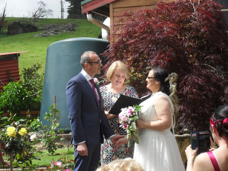 Vows were being said as this photo was taken, beautiful setting at this couples house in the country