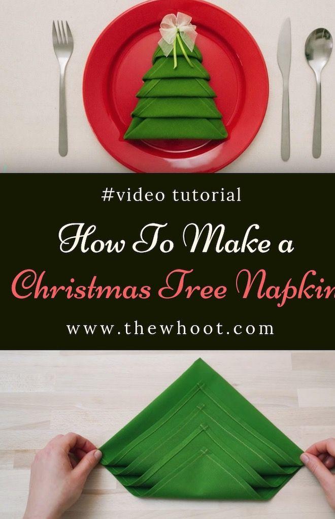 Christmas Tree Napkin Fold Steps Video The Whoot Christmas Tree Napkins Christmas Tree Napkin Fold Christmas Tree On Table