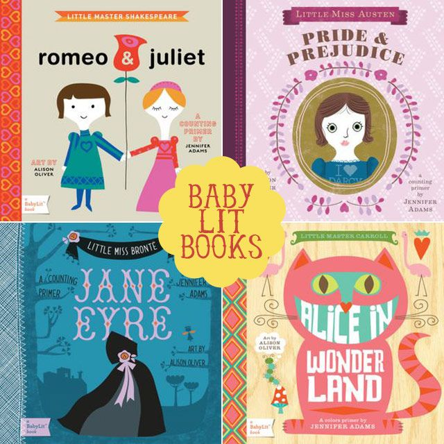 Baby board books, featuring stories by Shakespeare, Jane Austen, Charlotte Bronte