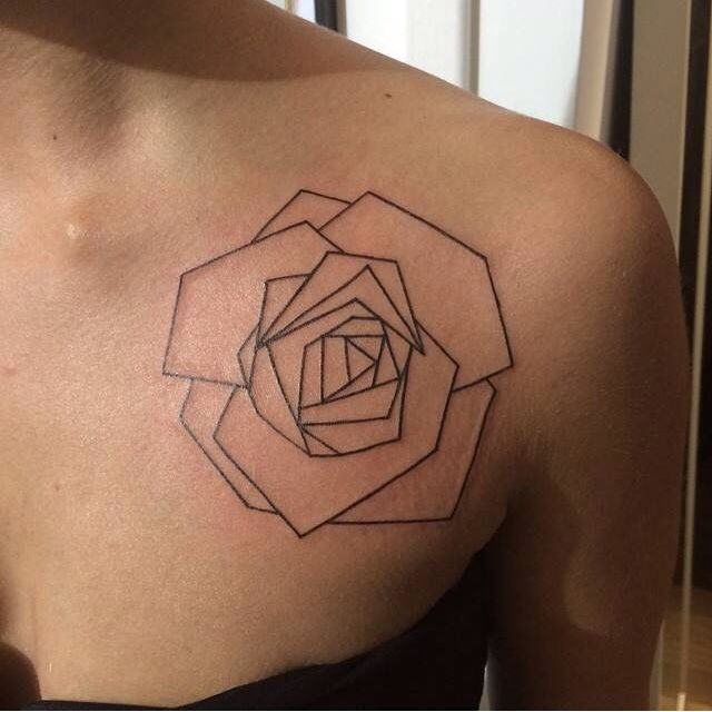 New Baby   Origami rose - tattoo lines (made by Laurent Z Tattoo - l'Encre Noire - aix-en-provence France)