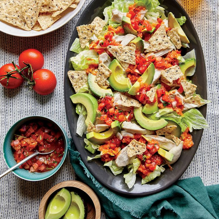 Shredded Chicken with Avocado Nacho Salad - Superfast Chicken Recipes - Cooking Light [sub romaine for more nutrients]