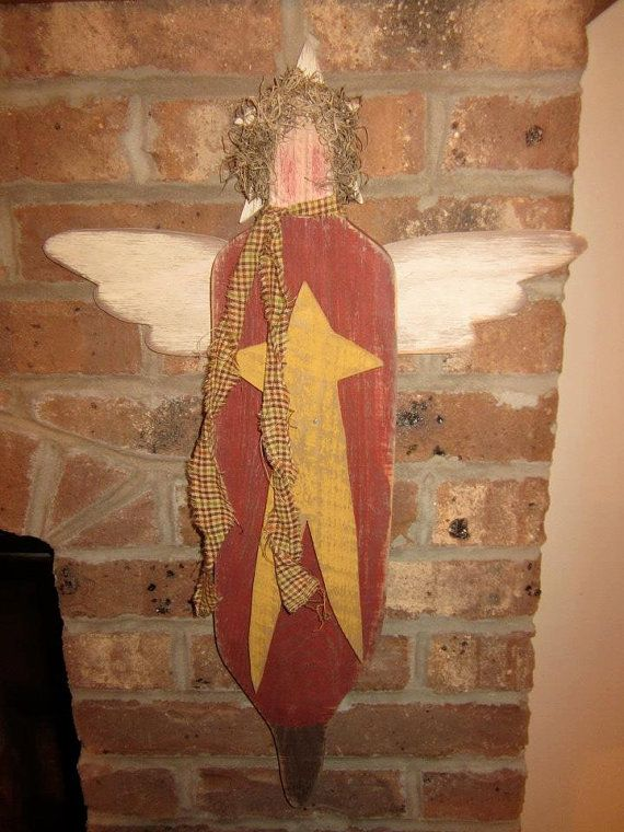 Country Primitive Wall Hanging Wood Angel Home By