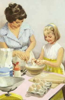 Cooking with mother--My Mother taught me to make cornbread when I was really young and then would have me stir it up most every night.  She always told me that mine was better than hers----and in the true fashion of a little girl, I believed her.: