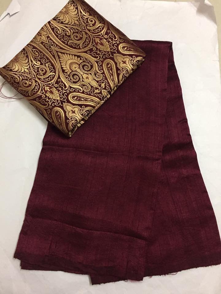 Pure raw silk saree with banarasi brocade blouse