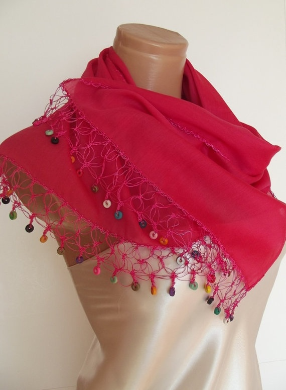 Scarf with hand crocheted oya lace beaded lace hot by smilingpoet, $24.90