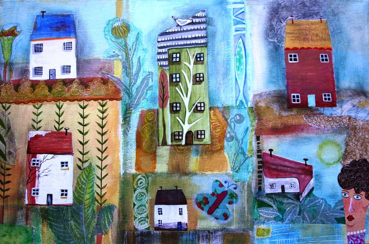 'Cornish Cottages'. Acrylics and collage on canvas. Commission by Ginny Rose, 2015 #GinnyRose #mixedmedia #acrylicpainting #watercolour #driftwood #foundobjects