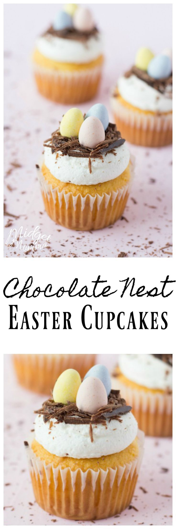 Chocolate Nest Cupcakes for Easter made with homemade buttercream icing. They look very elegant but they are very simple to make.