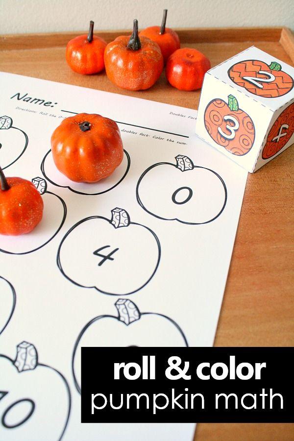 Fall Pumpkin Roll and Color Math Game | Harvest Preschool Theme ...