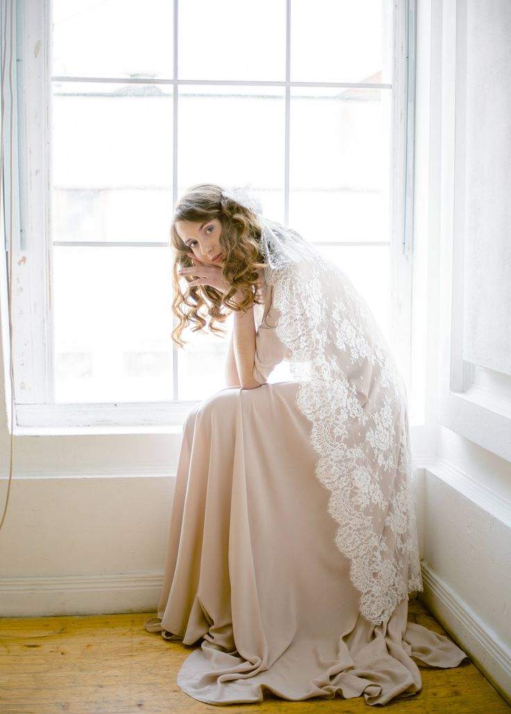 Long lace wedding veil by CathyTelle on Etsy
