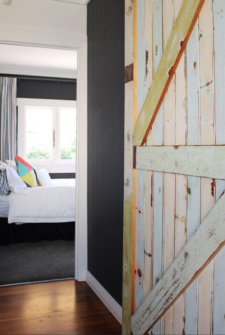 Bungalow Renovation. Reclaimed wood door, Resene Karen Walker Fuscous Grey…