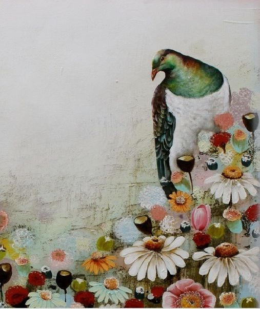 """""""Floral Contemplation (Kereru)"""", mixed media on canvas, by Janine Whitelaw"""