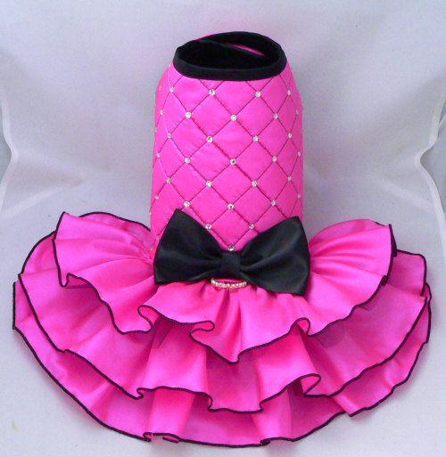 Small dog harness dress.Pink. Tutu skirt. Dog dress. by poshdog, $140.00