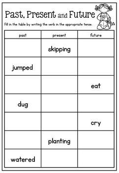 Great freebie for the different verb tense. So cute for practice with a cute spring theme. Just print and go.