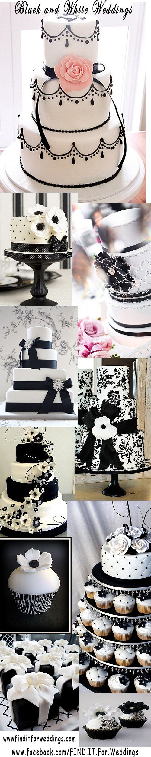#Black and white is always a striking combination and these #wedding #cakes are…