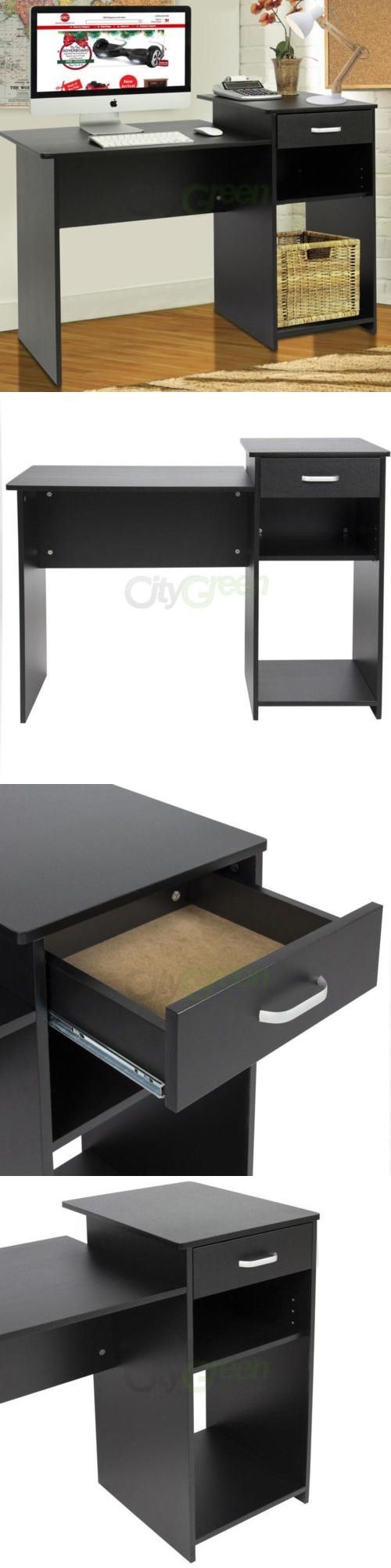 Office Furniture: Computer Desk Study Work Home Office Workstation Pc Laptop Table Furniture Black -> BUY IT NOW ONLY: $51.08 on eBay!