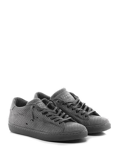 Leather Crown - Sneakers - Uomo - Sneaker in pelle forata e pelle con suola in gomma. Tacco 30. - GRIGIO - € 240.00